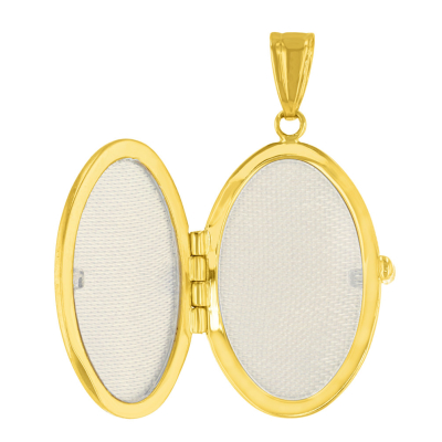 Solid 14K Yellow Gold Oval Locket Charm Pendant Necklace