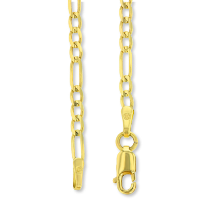 14K Two-Tone Gold Large Tubular Cross INRI Crucifix Pendant with Figaro Chain Necklace