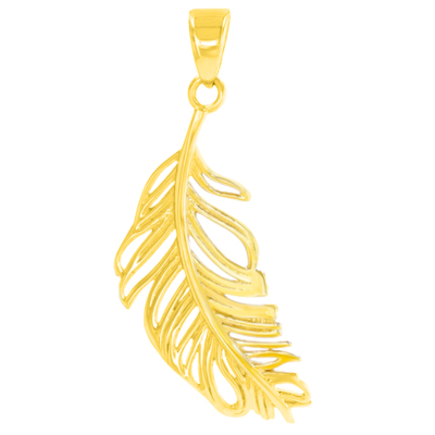 14k gold feather pendant