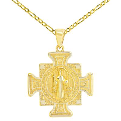 14K Yellow Gold Saint Benedict Cross Charm Pendant Figaro Chain Necklace