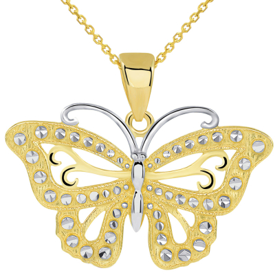 14k Solid Yellow Gold Budded Butterfly Pendant Necklace