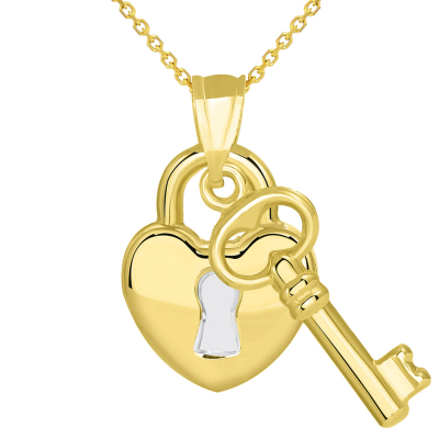14k Yellow Gold Polished Two Tone Heart Shaped Lock and Love Key Pendant Necklace
