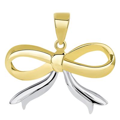 14k Yellow Gold Fancy Two Tone Ribbon Knot Tied Pendant