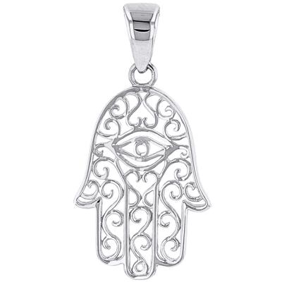 14K White Gold Filigree Hamsa Hand of Fatima with Evil Eye Pendant