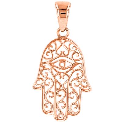 Solid 14K Rose Gold Filigree Hamsa Hand of Fatima with Evil Eye Charm Pendant
