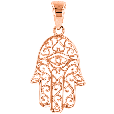 14K Rose Gold Filigree Hamsa Hand of Fatima with Evil Eye Pendant Necklace