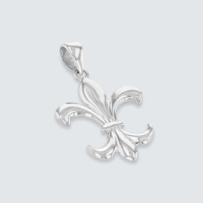 14k White Gold Simple Fleur de Lis Charm Pendant