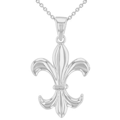 14K Whie Gold Simple Fleur de Lis Charm Pendant Necklace