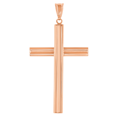 14k Rose Gold Plain Religious Cross Pendant Necklace