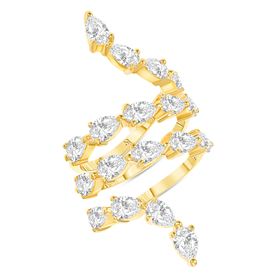 Spiral Pear Shape Diamond Ring Gold