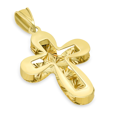 14k Yellow Gold Plain and Textured Double Layer Rounded Edge Cross Pendant