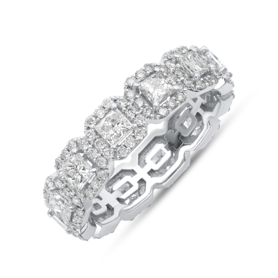 Princess Diamond Halo Eternity Band | Sabrina A Inc