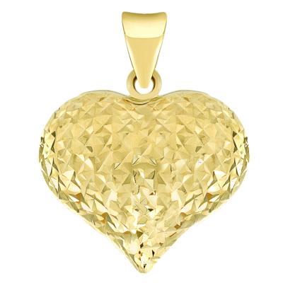 14k Yellow Gold Sparkle Cut Puffed Heart