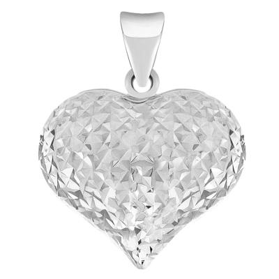 14k gold puffed heart charm