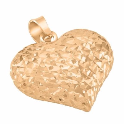 14k Rose Gold Sparkle Cut Puffed Heart Charm Pendant Necklace