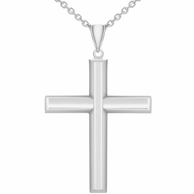 14k White Gold Plain & Simple Religious Pendant