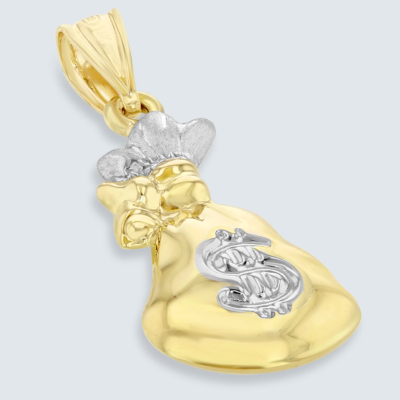 High Polish 14K Yellow Gold 3D Money Bag Charm Pendant