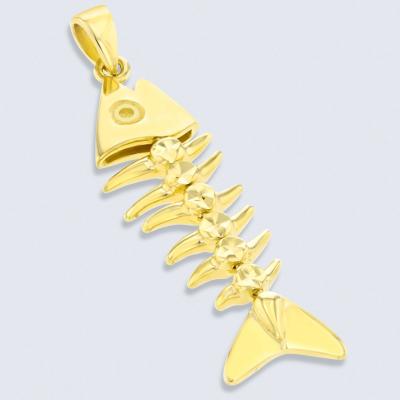 Solid 14K Yellow Gold Dangling Fishbones Pendant
