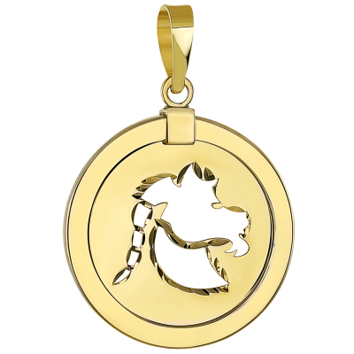 14K Yellow Gold Reversible Round Capricorn Goat Zodiac Sign Pendant