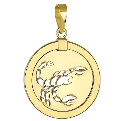 14K Yellow Gold Reversible Round Scorpion Scorpio Zodiac Sign Pendant