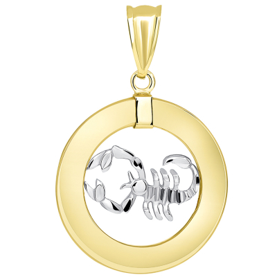 14k Two Tone Gold Open Circle Scorpio Zodiac Sign Pendant Necklace
