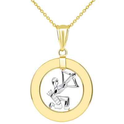 14k Two Tone Gold Open Circle Sagittarius Zodiac Sign Pendant Necklace