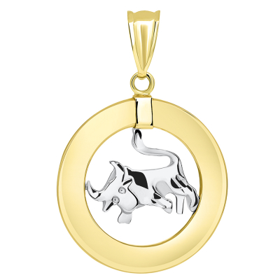 14k Two Tone Gold Open Circle Taurus Zodiac Sign Pendant