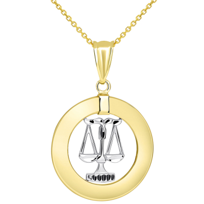 14k Two Tone Gold Open Circle Libra Zodiac Sign Pendant Necklace