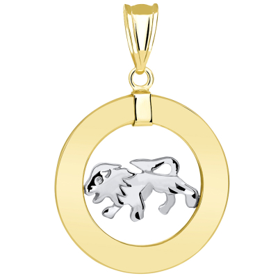 14k Two Tone Gold Open Circle Leo Zodiac Sign Pendant Necklace
