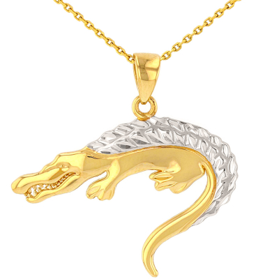 Solid 14K Yellow Gold Textured Crocodile Pendant Necklace with High Polish