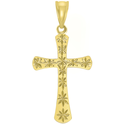 14K Yellow Gold Textured Star Cut Religious Cross Pendant Necklace