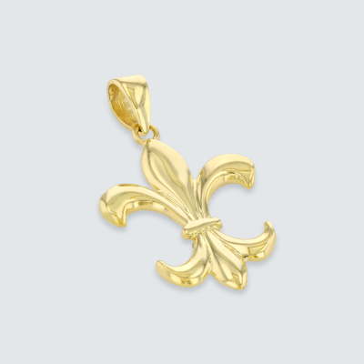 Solid 14K Yellow Gold Simple Fleur de Lis Charm Pendant with Cuban Necklace