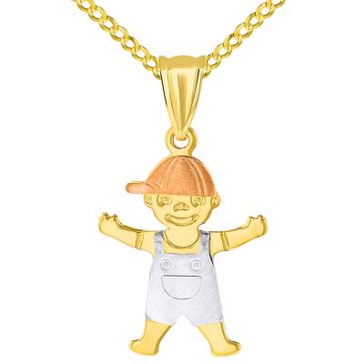 14k Tri Color Gold Little Boy Child Pendant with Cuban Necklace