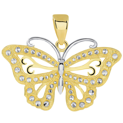 14k Solid Yellow Gold Budded Butterfly Pendant with Figaro Necklace