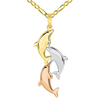 14k Tri Color Gold 3D Three Dangling Dolphins Jumping Vertical Pendant Figaro Chain Necklace