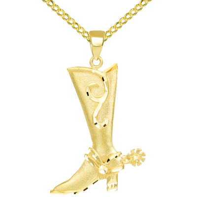 Textured 14k Yellow Gold Double Sided Cowboy Riding Boot with Spur Pendant Cuban Necklace