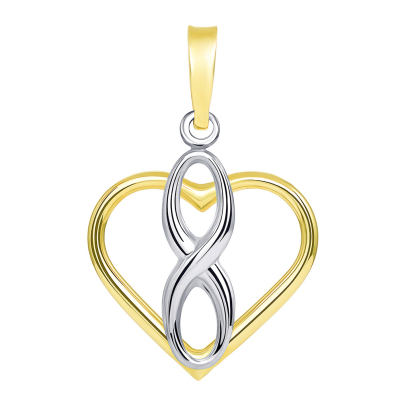 14k Two Tone Gold Vertical Infinity Sign in Open Heart Pendant with Cuban Necklace
