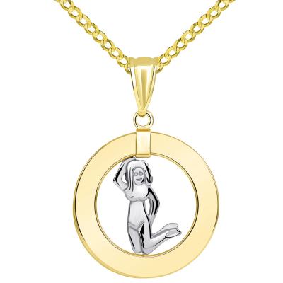 14k Two Tone Gold Open Circle Virgo Zodiac Sign Pendant Cuban Necklace