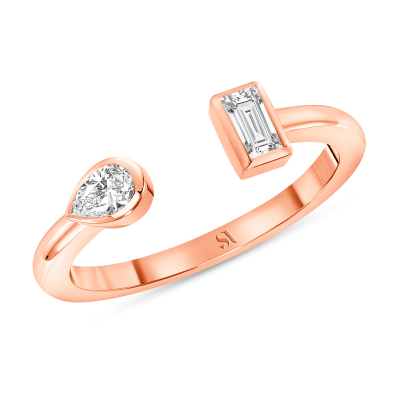 Open Double Diamond Ring Rose Gold
