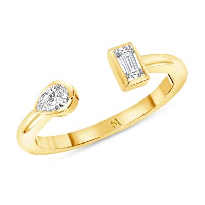Open Double Diamond Ring Gold