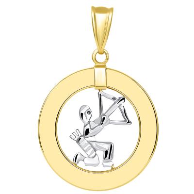 14k Two Tone Gold Open Circle Sagittarius Zodiac Sign Pendant Cuban Necklace