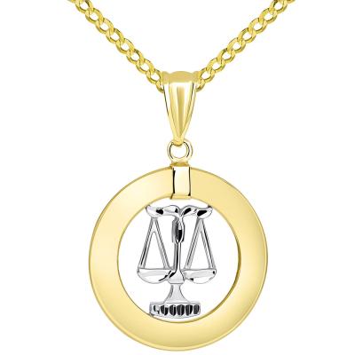 14k Two Tone Gold Open Circle Libra Zodiac Sign Pendant Cuban Necklace