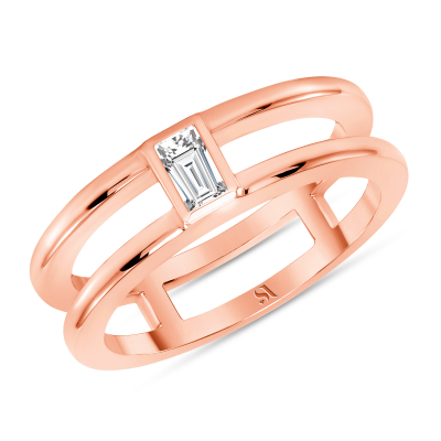 Baguette Diamond Double Band - Rose Gold