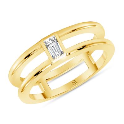 baguette diamond band yellow gold