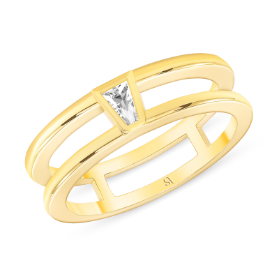 Tapered Baguette Diamond Double Band - Gold