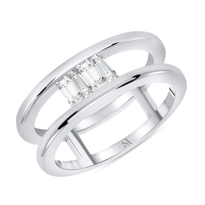 Upside Down Tapered Baguette Diamond Double Band