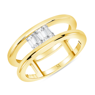 Upside Down Tapered Baguette Diamond Double Band - Gold