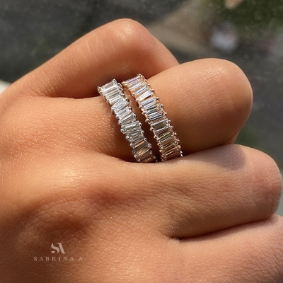 baguette eternity band on finger