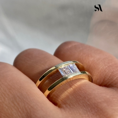 Upside Down Tapered Baguette Diamond Double Band displayed on finger