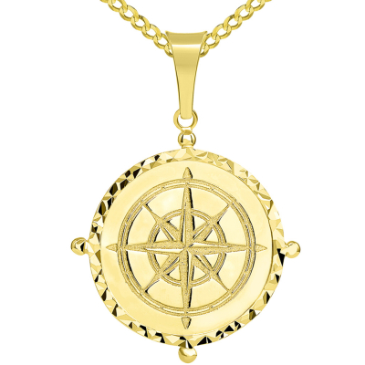 Solid 14k Yellow Gold Well Detailed Classic Compass Pendant with Cuban Chain Necklace